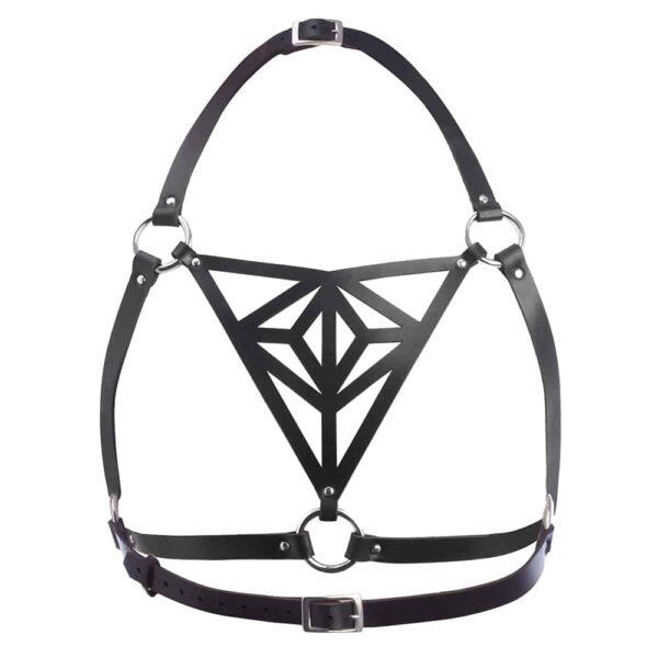 Harnais noir en cuir végétal avec des motifs triangulaires vue de dos de Blasted Skin chez Brigade Mondaine