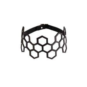 Black leather choker collar lace hexagonal shape BLASTED SKIN at Brigade Mondaine