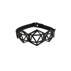 Black leather choker collar lace hexagonal and triangular shapes BLASTED SKIN at Brigade Mondaine