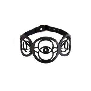 Black leather choker necklace lace round shape fish eyes BLASTED SKIN at Brigade Mondaine