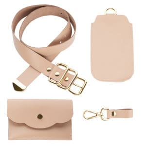 ALBANE BELT with two removable beige leather pockets with gold metal finishes from MIA ATELIER at BRIGADE MONDAINE