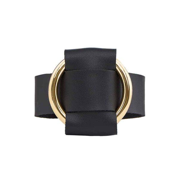 ANNA BRACELET en cuir nappa noir avec large anneau en métal doré de MIA ATELIER chez BRIGADE MONDAINE