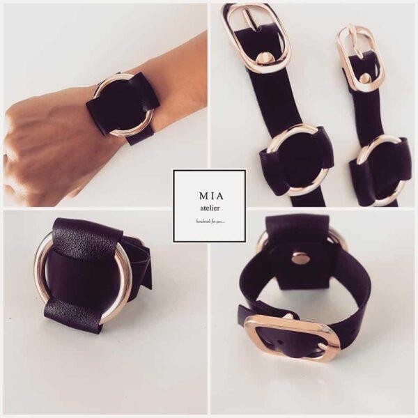 ANNA BRACELET noir en cuir ajustable avec un anneau et des finitions en métal doré de MIA ATELIER chez BRIGADE MONDAINE
