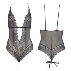 Black G-spot BODY, lace and Majorca pearls, from the BRACLI brand GENEVA collection at BRIGADE MONDAINE