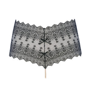Black transparent PANTY g-string made of lace and pearls from Majorca from the BRACLI brand GENEVA collection at BRIGADE MONDAINE