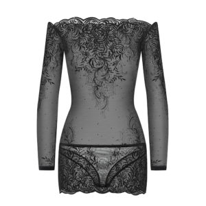 Mini dress in arabesque tulle, transparent boat neckline, integrated body G-string by CADOLLE luxury lingerie Paris Chez BRIGADE MONDAINE