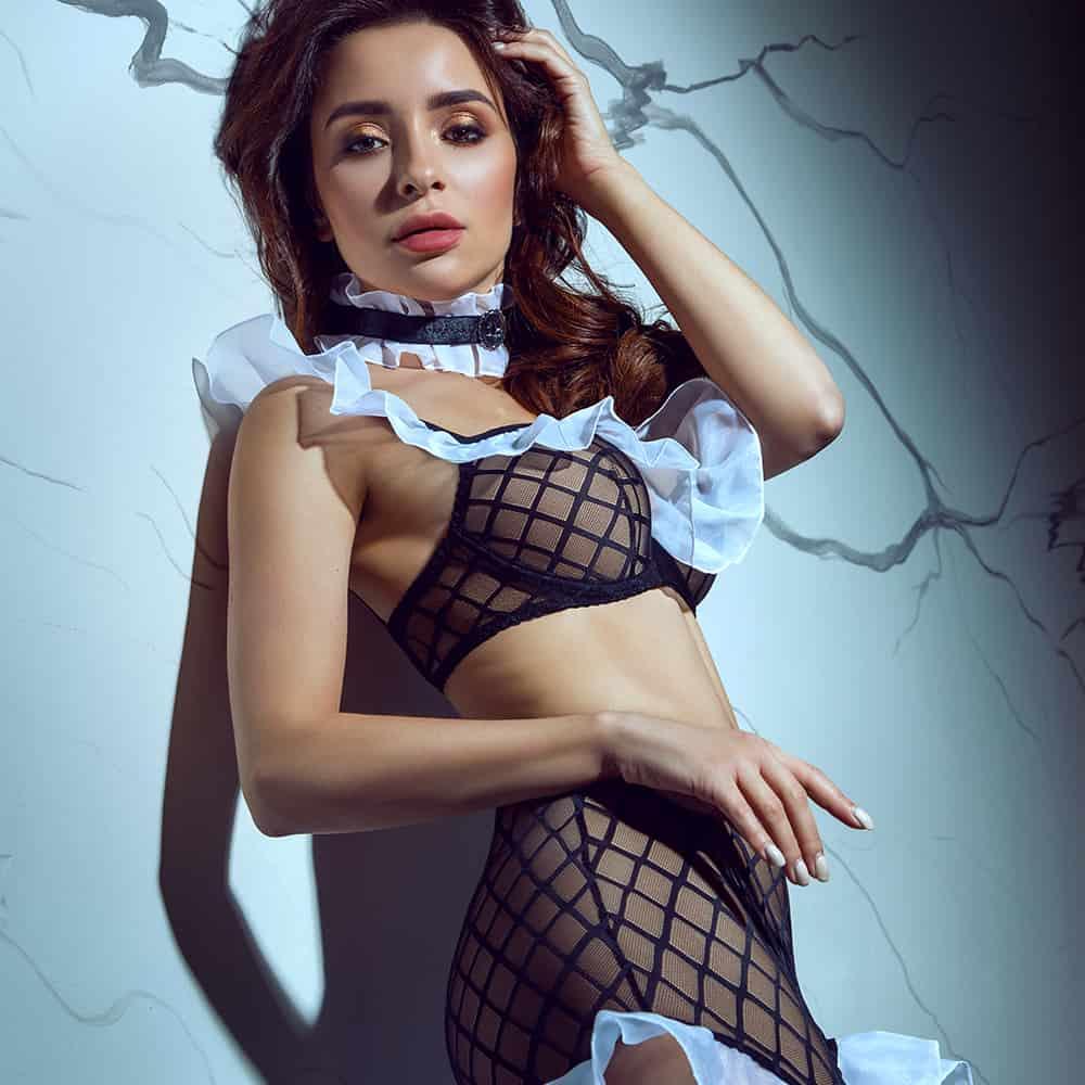 Sexy Maid Roleplay Set avec choker, costume de role play noir et blanc