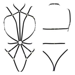 Harnais / body EVA Playsuit noir plaqué or et élastiques velours ajustables de COUTURE DE NUIT chez BRIGADE MONDAINE