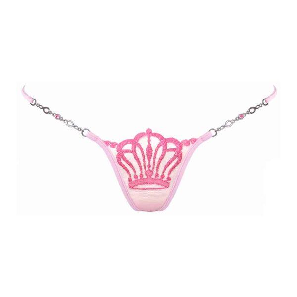 Mini String Queen of Love en couleur rose, avec couronne sur l'avant du string, et détails d'un bijou, très échancré