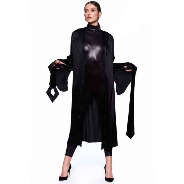 Kimono Infinity Long et noir, avec ceinture