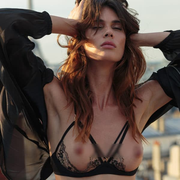 Open bra after midnight, with elastics on the front to highlight the chest
