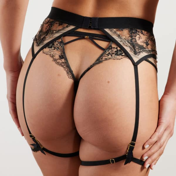 Tulle tanga with floral lace front with AA medallion and back details